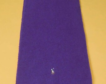"""Polo Ralph Lauren Scarf Lambswool Colored Pony Solid Theme Purple Vintage Muffler Foulard Shawl Wrap Made In Italy 62"""" X 12"""""""