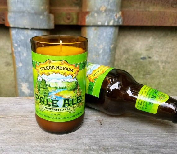 Craft Beer Gift Soy Candle, Recycled Sierra Nevada Pale Ale Bottle