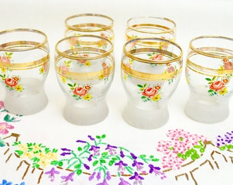 1950s beautiful pink and yellow floral vintage shot glasses