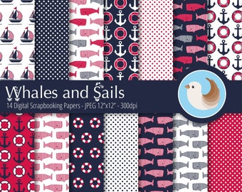 Nautical Digital Paper Set - Navy and Red Digital Paper - Nautical Whale Digital Paper - Set of 14 Digital Scrapbooking Papers