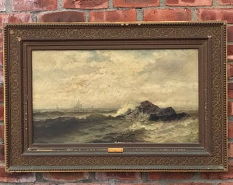 Sailing in Rough Seas 1882 Signed Seascape By Frank Knox Morton Rehn Cape Ann Massachusetts Coast