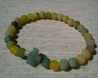 17cm 6 7/10'' wrist,  greek Orthodox XP Cross green Aventurine, Dream Agate  christian prayer bracelet blessed
