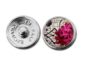 Pink flowers charm, flower jewelry, snap charm, boho charm, flower charm,  interchangeable charm, snap button, charm bracelet charm