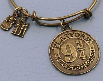HARRY POTTER Inspired Bangle, Platform Kings Cross Bronze, Charm Bracelet, Hogwarts Express, Hedwig Owl, fan girl gift  favorite book