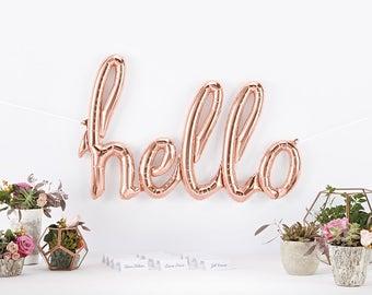 HELLO script letter balloons - party decor - balloon banner kit
