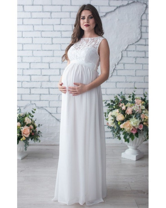 White Long Dress Pregnant Maternity Gown for