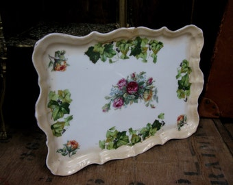 Floral Tray, Vanity Table Tray, Dressing Table, Ceramic Tray, Vintage Florals, Decorative Tray, Bedroom Tray, Vintage Roses, Rose Print Tray