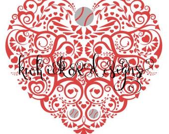 Baseball Heart Svg File, Svg File, Dxf For Silhouette, Baseball Svg
