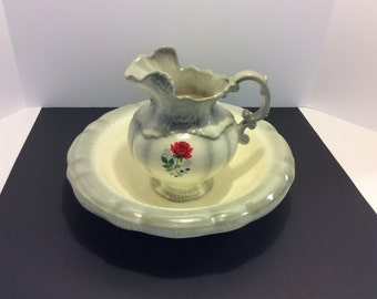 Vintage Handpainted Ceramic Wash Bowl and Pitcher, Shabby Chic Decor, Gray and White Glazed  Pottery Wash Bowl