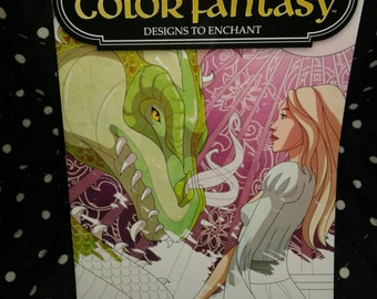 Color fantasy adult coloring book dragons knight's castles fairies and more enchantment new
