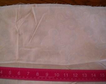Destash- Cream Cotton Fabric With Cream Colored Swirl Roses Vintage Remnant
