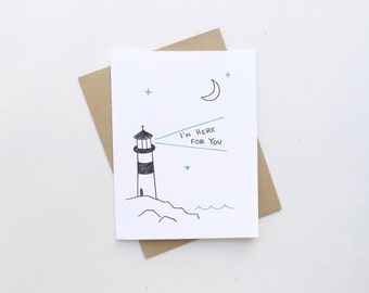 Here for You Lighthouse Card / Sympathy Letterpress Greeting Card / Nautical Stationery
