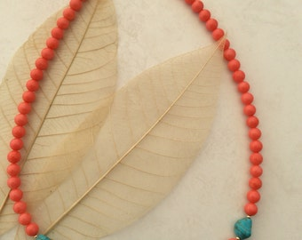 pink coral necklace with turquoise nugget detail 19 .5 inch 14k gold filled beads & clasp
