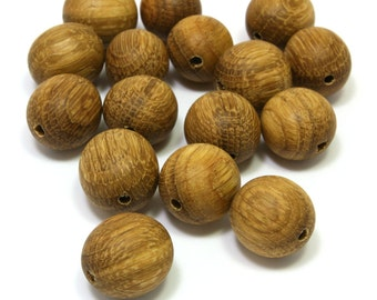 Natural wood beads. Set of 16 oak wood beads size 0.7in (18mm) Handmade wooden beads . O6272