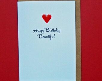 Happy Birthday Beautiful, red enamel love heart, wife, girlfriend, daughter, friend, birthday - Hand-enamelled art card.