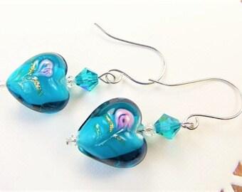 Blue Glass Heart Earrings | Lampwork Glass | Turquoise Blue Heart Earrings | Czech Crystals | Blue Hearts | Stainless Steel Jewelry