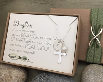 Daughter Gift - First Communion Gift for Daughter Baptism Gift Confirmation Necklace Daughter Jewelry Religious Jewelry Pearl Cross Necklace