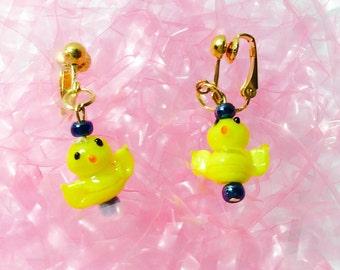 Easter clip on earrings, Easter chick earring, yellow Easter earrings, basket gift, not pierced earring, JeriAielloartstore, made in America