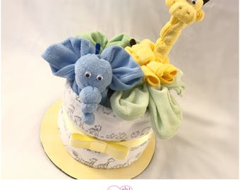 Giraffe/Elephant Mini Diaper Cakes Baby Shower Centerpieces - New Baby Gift Basket - Giraffe/Elephant Mini Diaper Cake