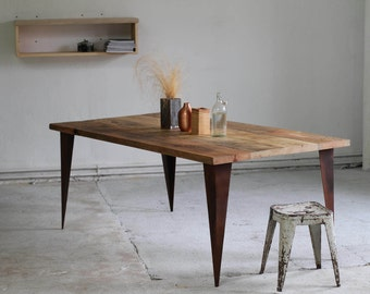 Reclaimed Table, Rustic Table built from repurposed wood and very sturdy Corten Steel Table legs