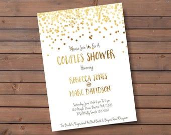 confetti couples shower invite - gold confetti couples shower invitation - wedding shower invite - br18