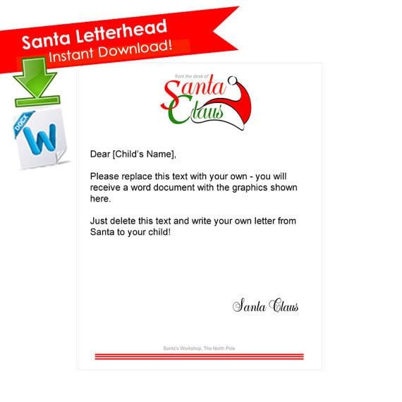 santa letterhead letter from santa printable santa claus