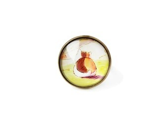 Natsume Yuujinchou - Nyanko-sensei big adjustable ring, 20mm glass dome photo cabochon, bezel statement ring, Natsume's book of friends