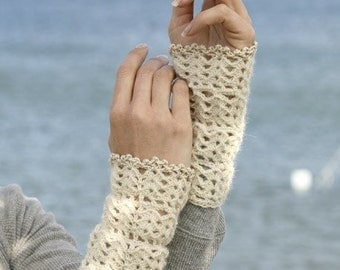 Crochet Lace Arm Warmers, Crochet Lace Fingerless Gloves, Steampunk Cuffs Gloves, Cotton Armwarmers, Lace Arm Warmers, Victorian Lace Gloves