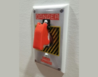 NUKE BUTTON Switch Plate with Toggle - Wall Plate Cover - NUCLEAR gag gift single gang mancave light