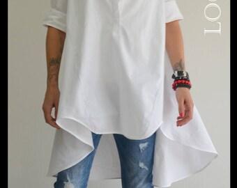 Extravagant Asymmetric shirt /Maxi white top / Loose shirt /  Oversize white top / Maxi shirt / Oversize Spring top