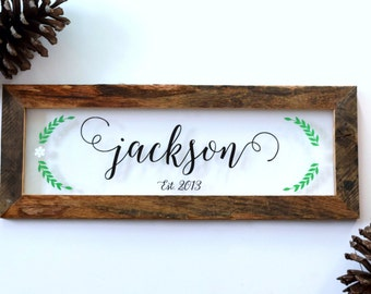 Reclaimed Wood & Glass Family Name Sign - Wedding Gift - Anniversary Sign - Established Sign - Last Name Sign - New Family Gift