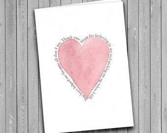 Mother's Day card, thank you mum, heart mum card