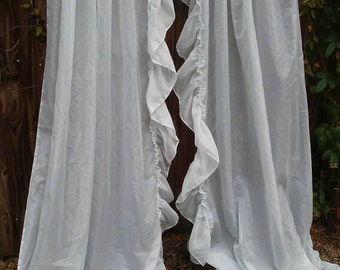 Beautiful Vintage Baby Blue Shear Curtains/Shabby Chic/Cottage Chic/