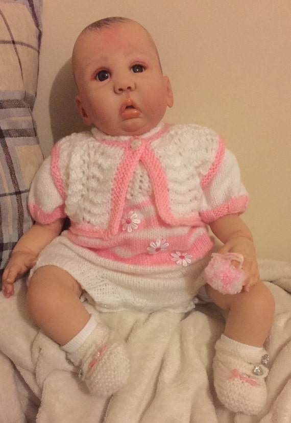 Baby Knitting Pattern 0-6mths Waistcoat and Romper and Shoes