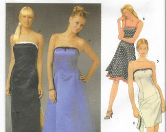 Strapless prom gown/Junior Bridesmaid's dress pattern in Juniors' sizes 11/12, 13/14, 15/16 Simplicity 5221|0613 UNCUT & FF (2004)  K1148
