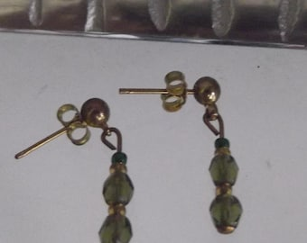 Olive Green Crystal Gold Stud Earrings