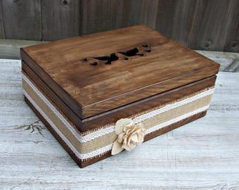 Large wedding box, large wooden wedding box, Rustic wedding box, Shabby chic wedding box, Vintage wedding box, Personalized , Wedding gift