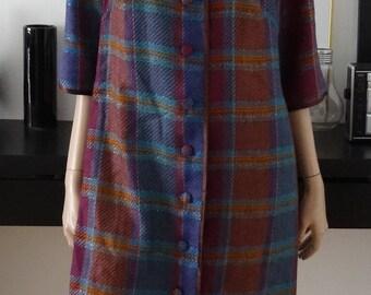 manteau/veste carreaux multicolore lurex fait main taille 40/42 - uk 12/14 - us 8/10