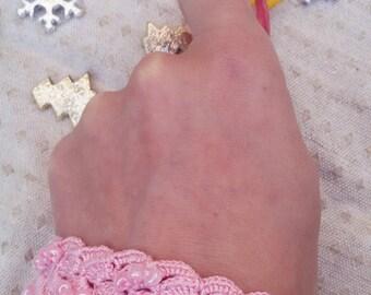 Pink crochet jewelry, crochet bracelet, pink beaded bracelet, fabric bracelet, fiber art jewelry, pink lace jewelry, textile jewelry