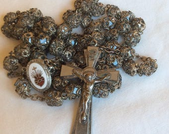 Vintage 1930s Art Deco Crystal Double-Capped Rosary