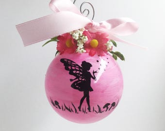 Personalized Fairy Ornament - Hand Painted Fairy Ornament - Pink or Purple Fairy Christmas Ornament