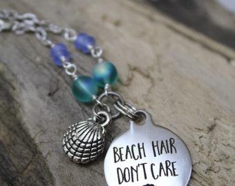 Beach Hair Don't Care Silver Charm Necklace - Beachwear - Coastal Gifts - Coastal Jewelry - Beach Jewelry - Mermaids - Summer - Sandy Toes