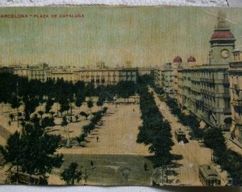 Vintage postcard.Antique postcard.Barcelona.Postal de Barcelona.Plaza de Cataluña.Misse Hs Barna.Tranvias.Ephemera.Collectable.Vintage Spain