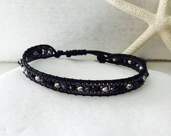 Black bracelets, macrame bracelet, beads, bracelet, friendship bracelet, hipster, fashion jewellery, hippie, beaded bracelet, boho bracelet