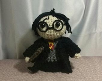 Handmade Harry, Harry Figurine, Harry Potter, Harry Plush, Harry Toy, Harry Doll, Harry Potter Gift, Harry Gift, Amigurumi, Harry Potter Fan