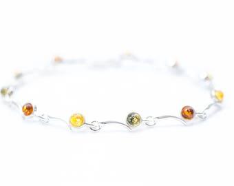 Minimal Amber Bracelet, Gemstone Bracelet, Silver Bracelet, Fine Amber Bracelet, Delicate Link Bracelet, Multi Gemstone, Amber Jewellery