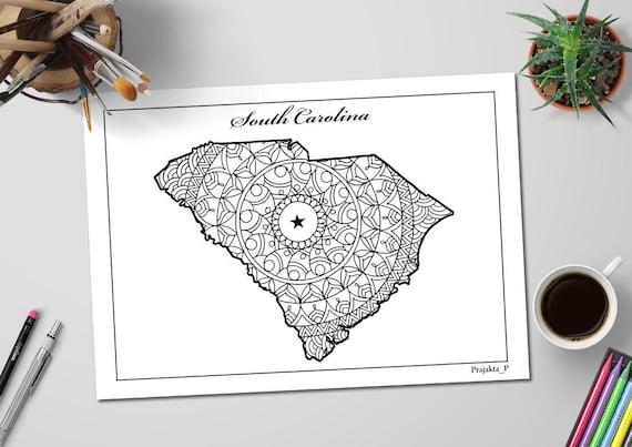 Carolina del sur estado mapa adultos página para colorear de
