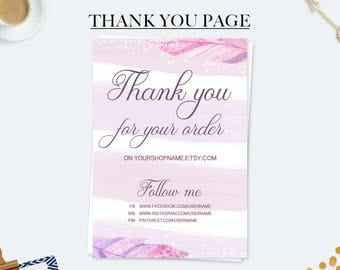 Thank you for your order cards, purchase cards, marketing kit, business cards, custom thank you cards, etsy seller card, thank you note