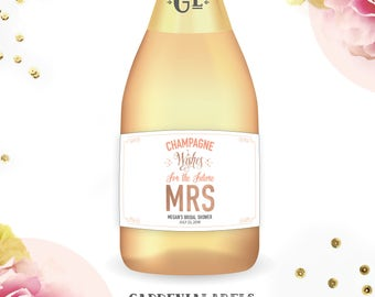 FUTURE MRS Mini Champagne Labels, Bridal Shower Favors, Wedding Shower Champagne, Personalized Gift for the Bride, Bachelorette Party Favors