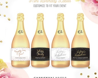 Mini Champagne Birthday Labels, Dirty Thirty Mini Label, 21st 30th 40th 50th Birthday, Milestone Birthday Gift, Mini Champagne Labels